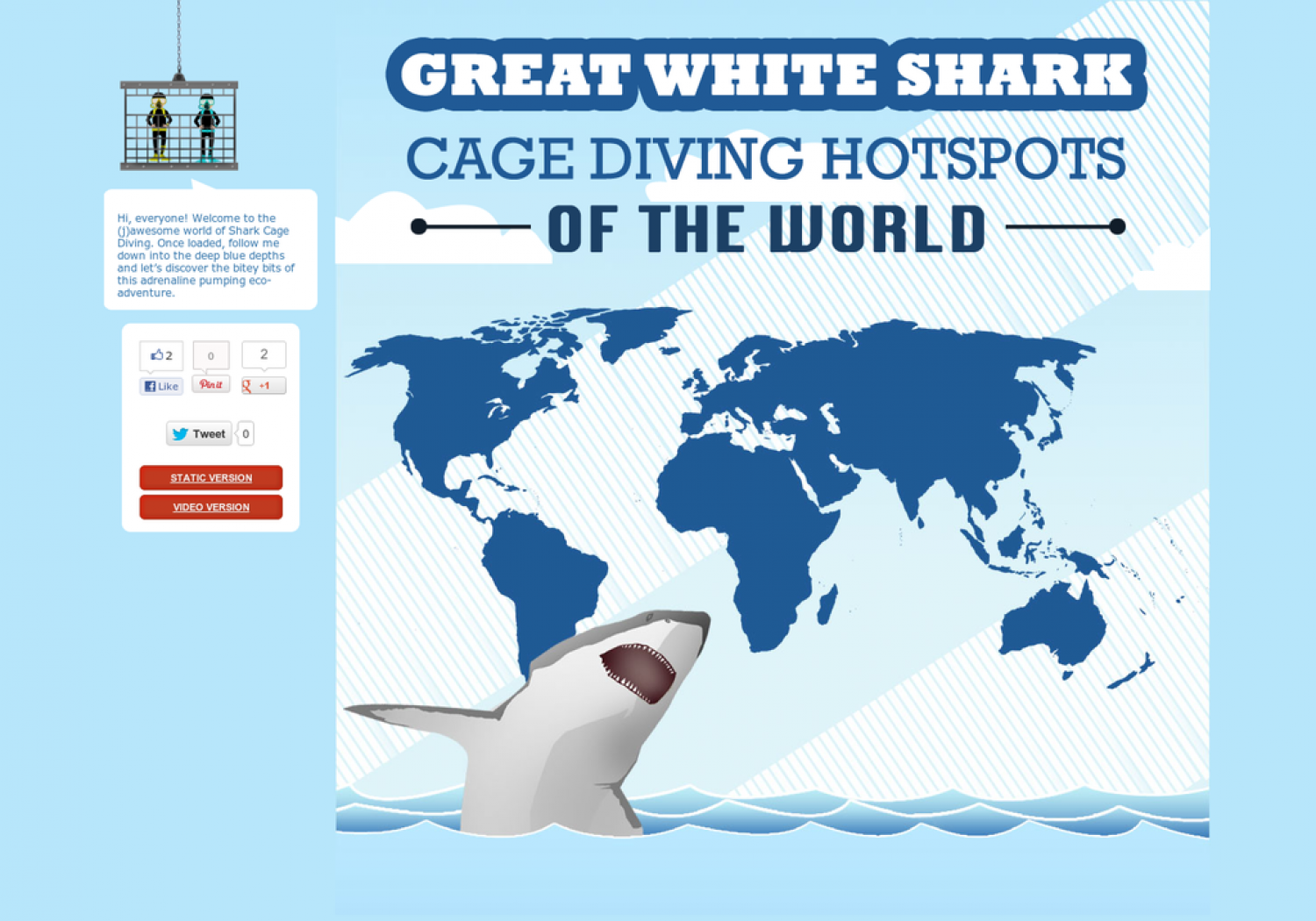 Great White Shark Cage Diving Hotspots of the World [INTERACTIVE] Infographic