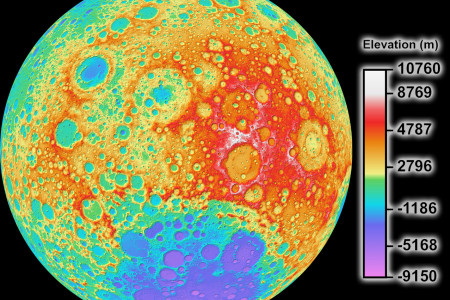 High Resolution Global Topographic Map of Moon Infographic