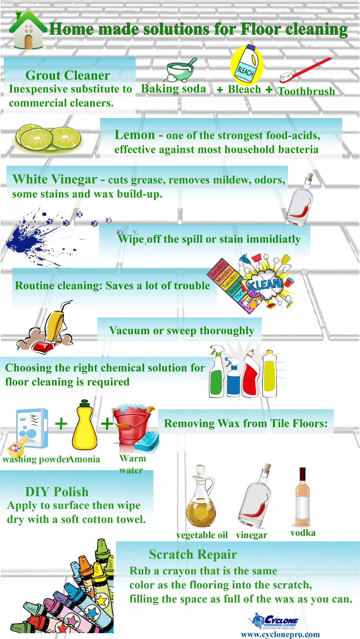 . Home made solutions for floor cleaning Infographic
