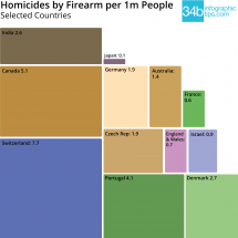 Homicides by Firearm (selected countries) Infographic
