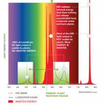 Horticultural LED Lights VS High Pressure Sodium (HPS) Infographic