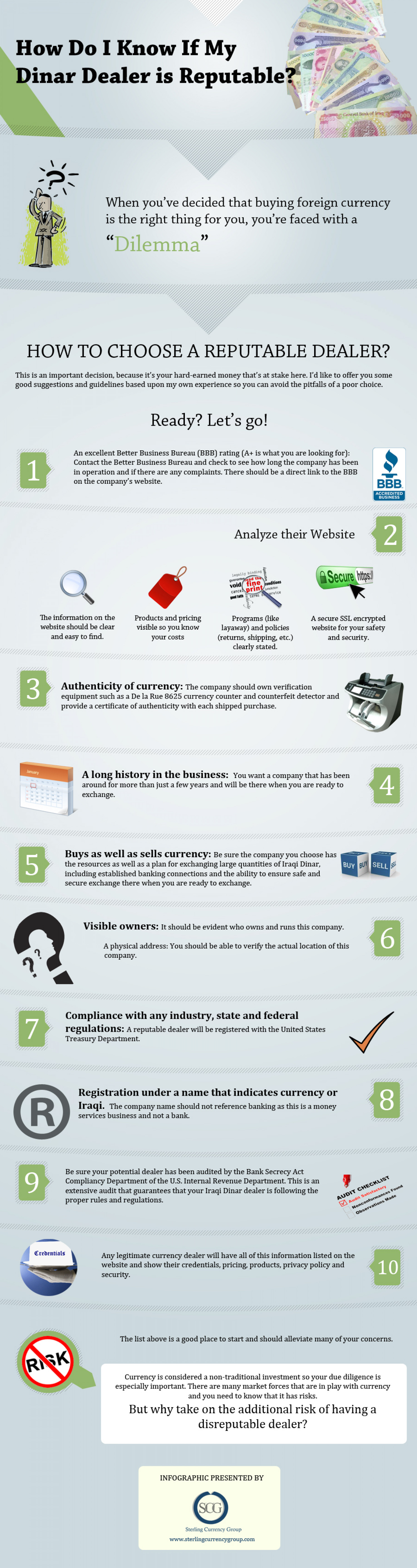 How Do I Know If My Dinar Dealer is Reputable? Infographic