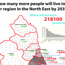 How many more people will live in your region in the North East by 2033? Infographic