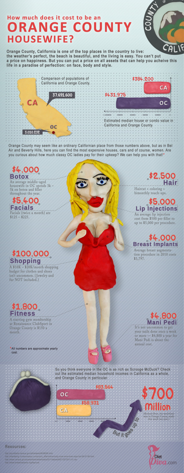 How Much Does it Cost to be an OC Housewife? Infographic