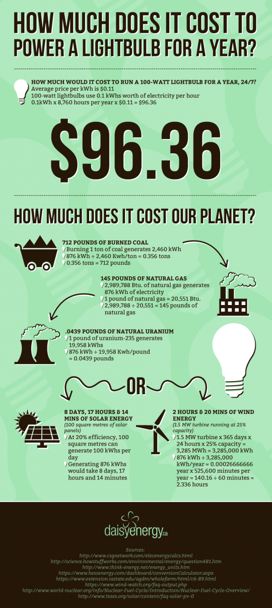 How Much Does it Cost to Power a Lightbulb for a Year?
