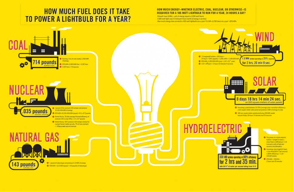 How Much Fuel Does It Take To Power a Lightbulb for a Year? Infographic