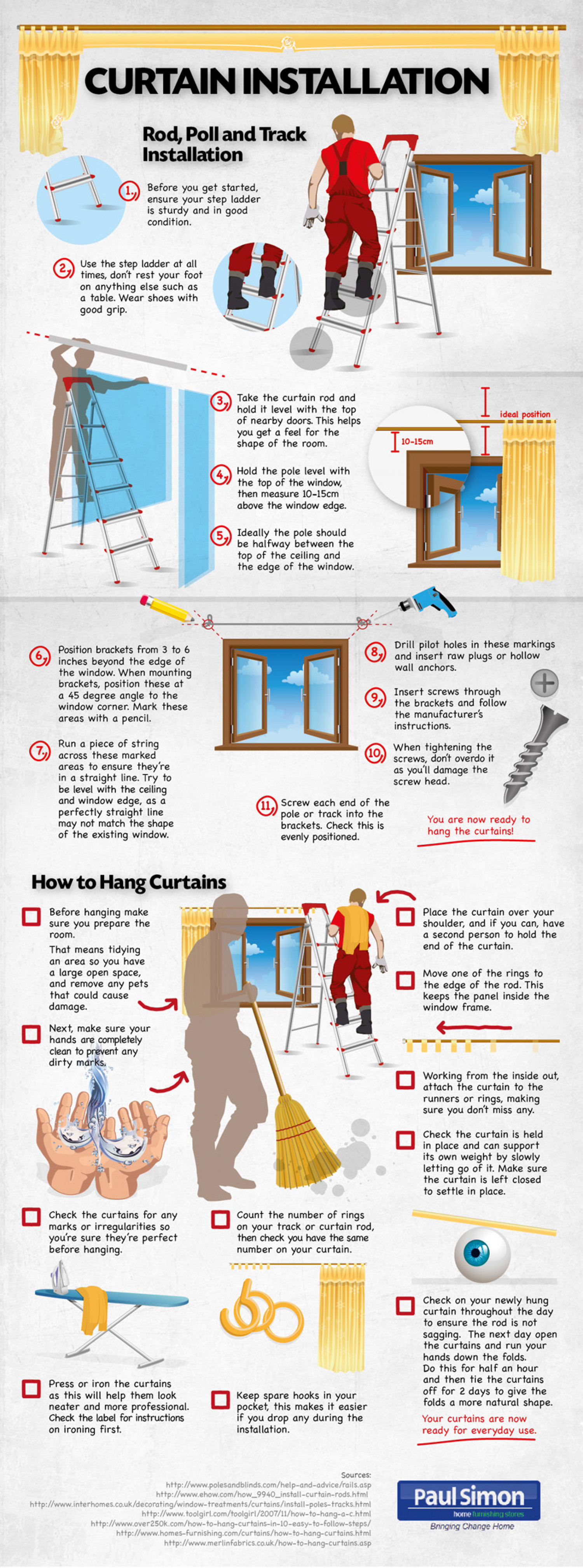 How to install curtains Infographic