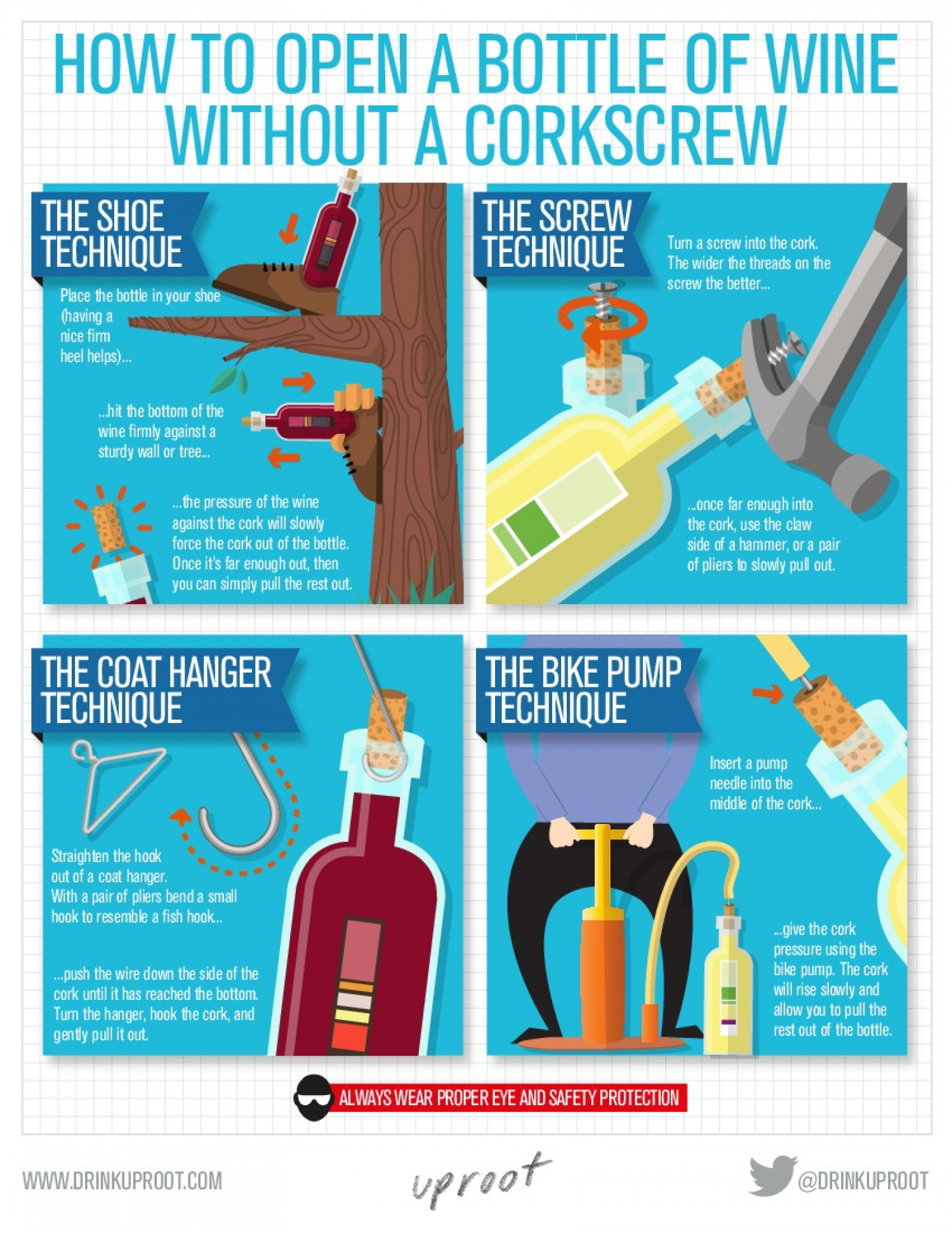 How To Open a Bottle of Wine like MacGyver Infographic