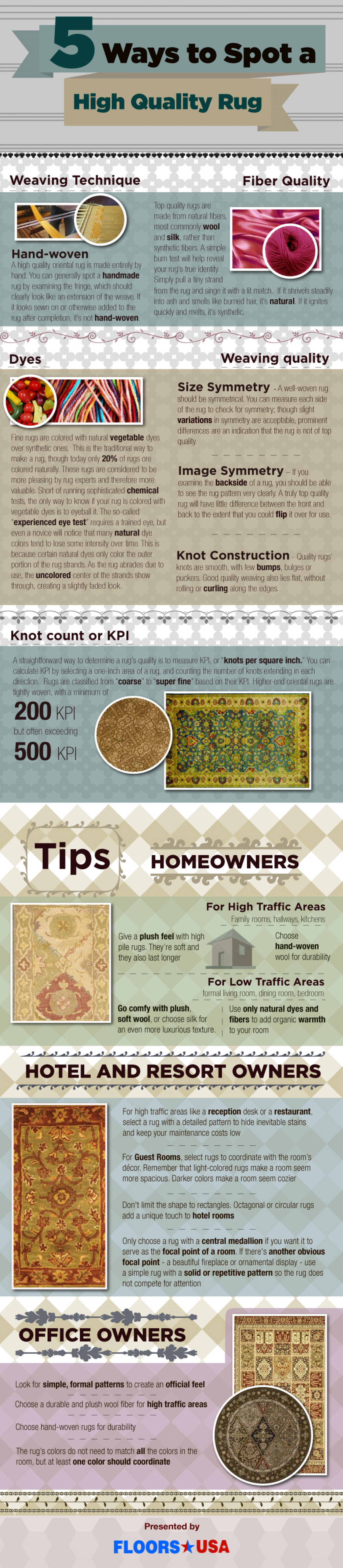 5 Ways to Spot a high quality rug Infographic