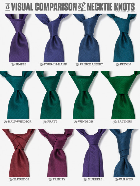 A Visual Comparison of Necktie Knots Infographic