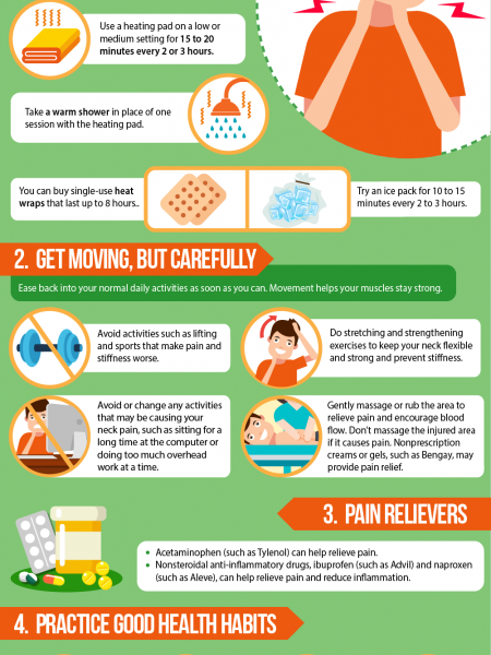 How to treat neck pain at home Infographic