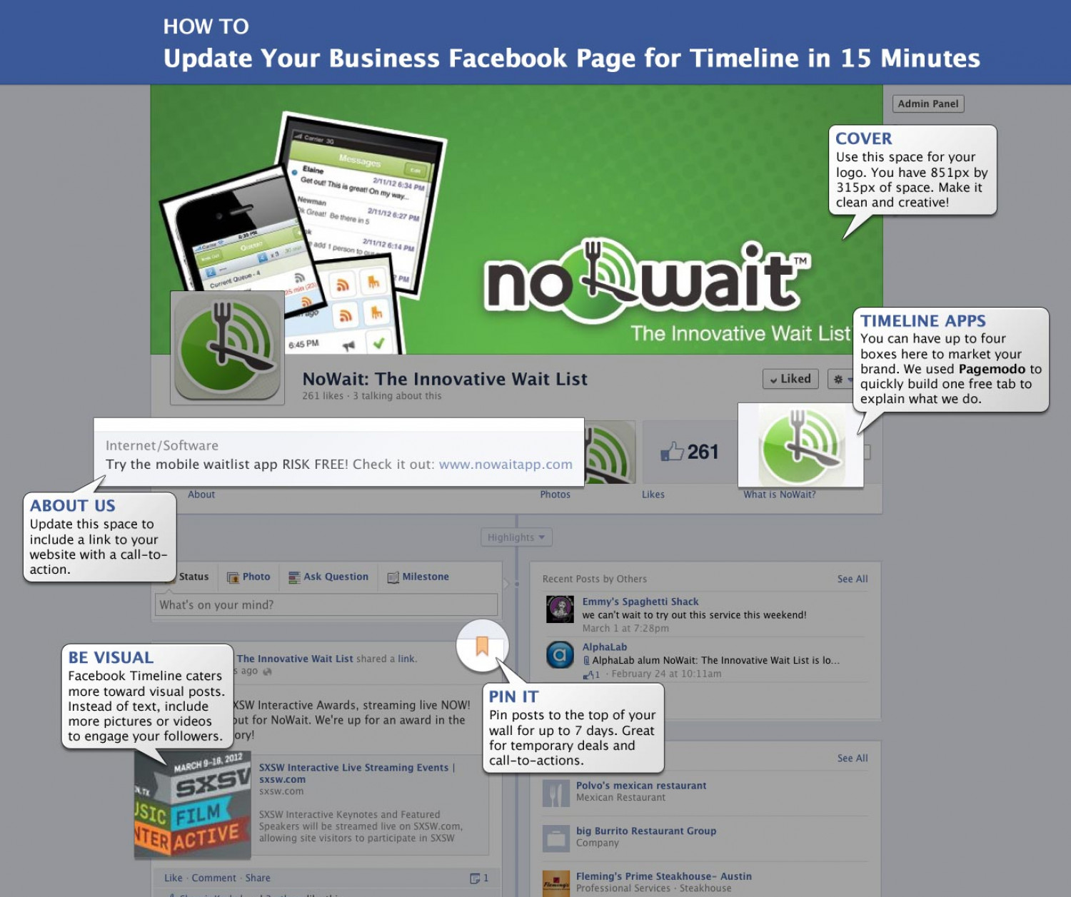 How to Update Your Restaurant Page for Facebook Timeline in 15 Minutes Infographic