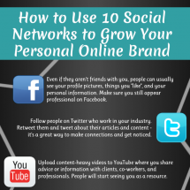 How to Use 10 Social Networks to grow Your Personal Brand Infographic