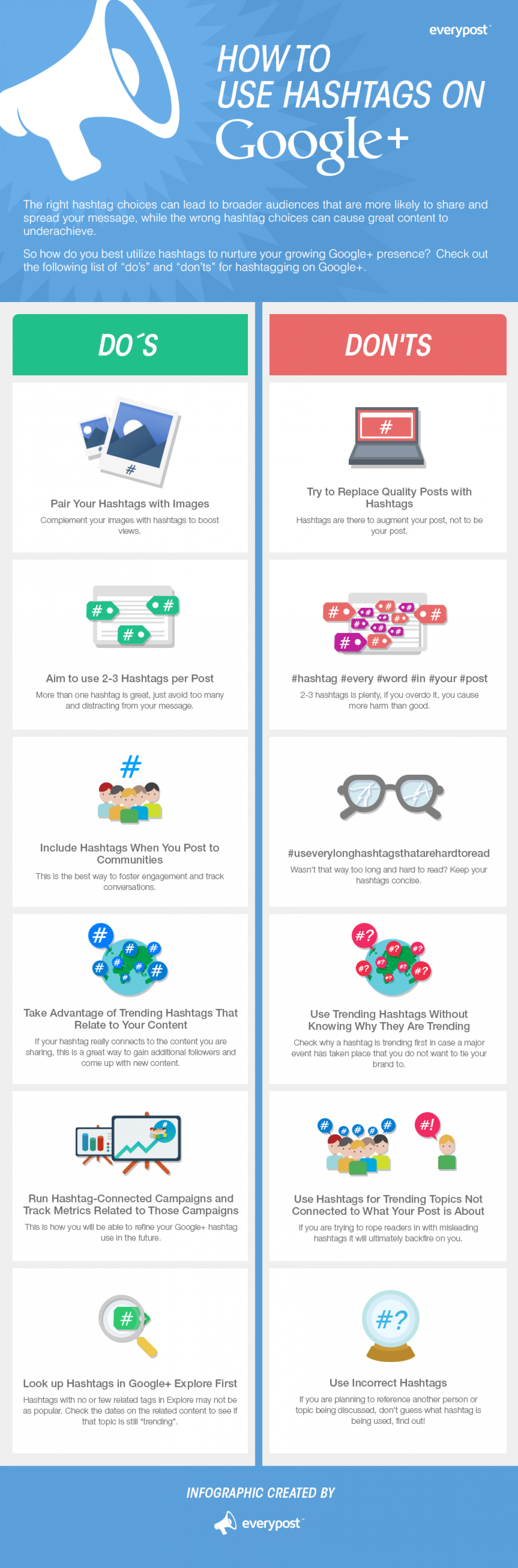 How to Use the Hashtags on Google Plus - The Do's and Don'ts (Infographic)
