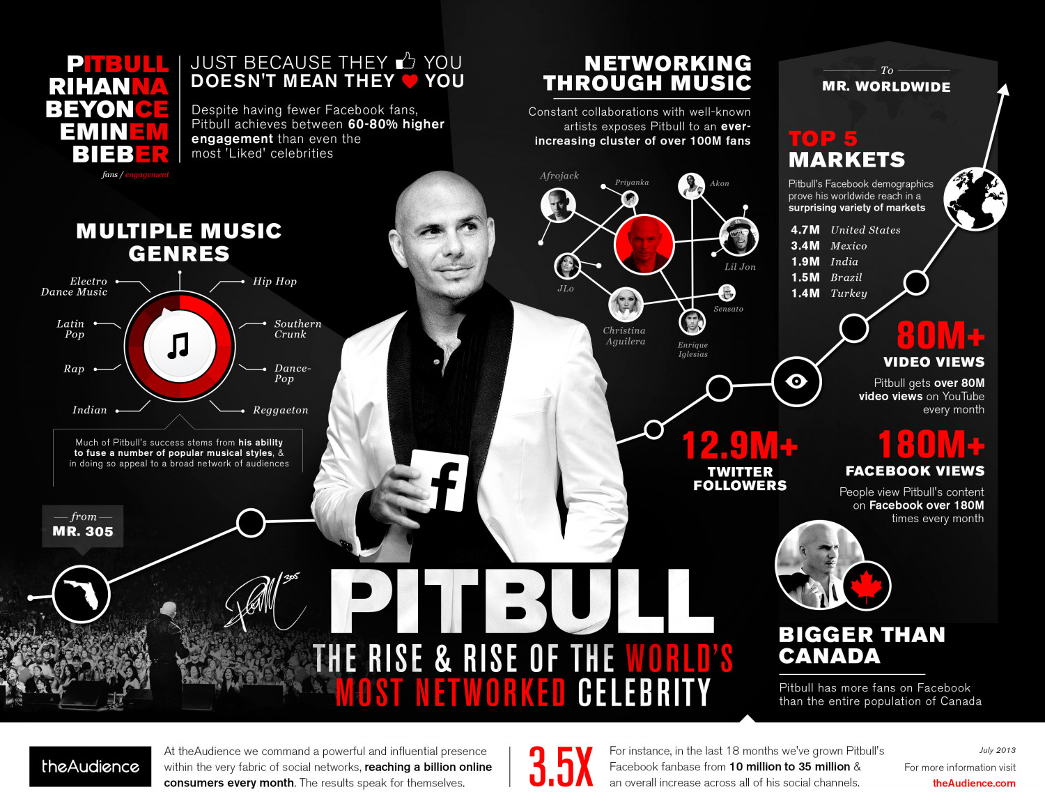 Hip-Hop Superstar Pitbull Flows On Facebook Infographic