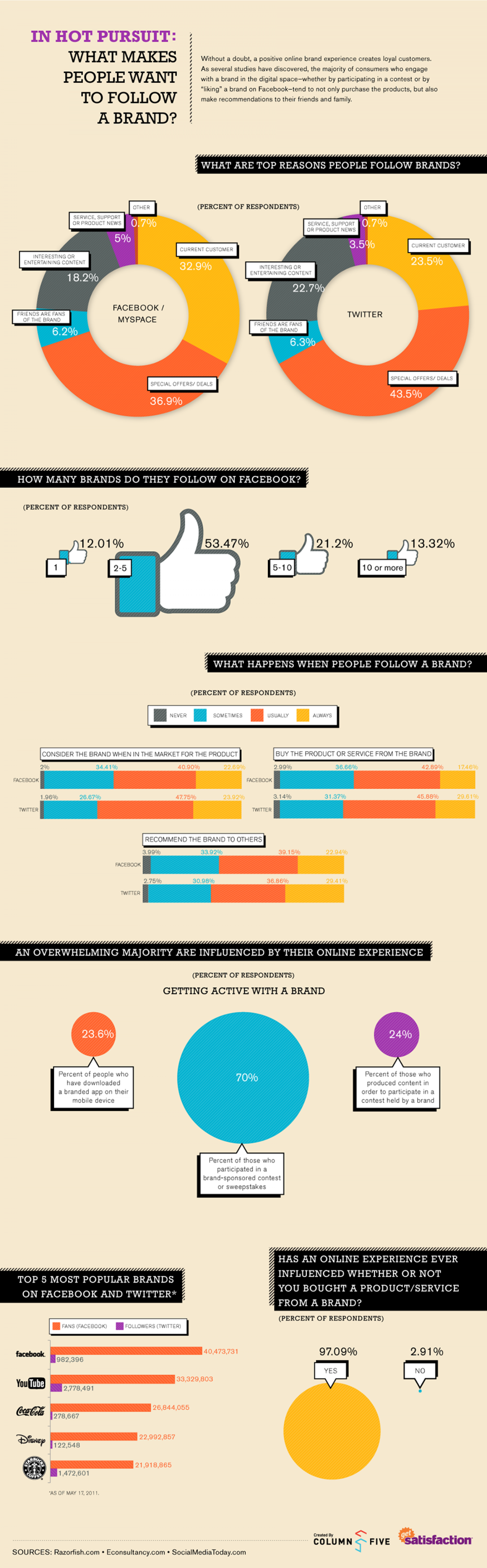 In Hot Pursuit: What Makes People Want to Follow a Brand? Infographic