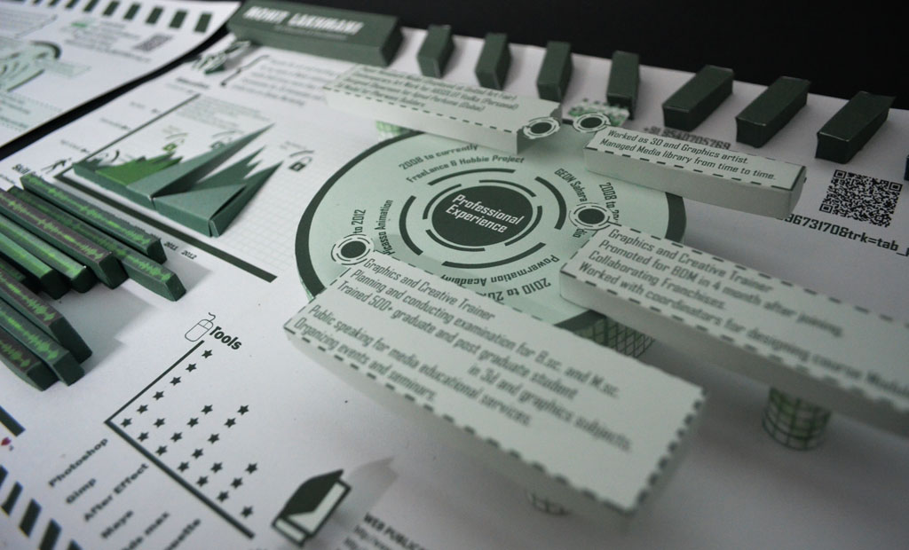 infographic 3d paper crafted resume