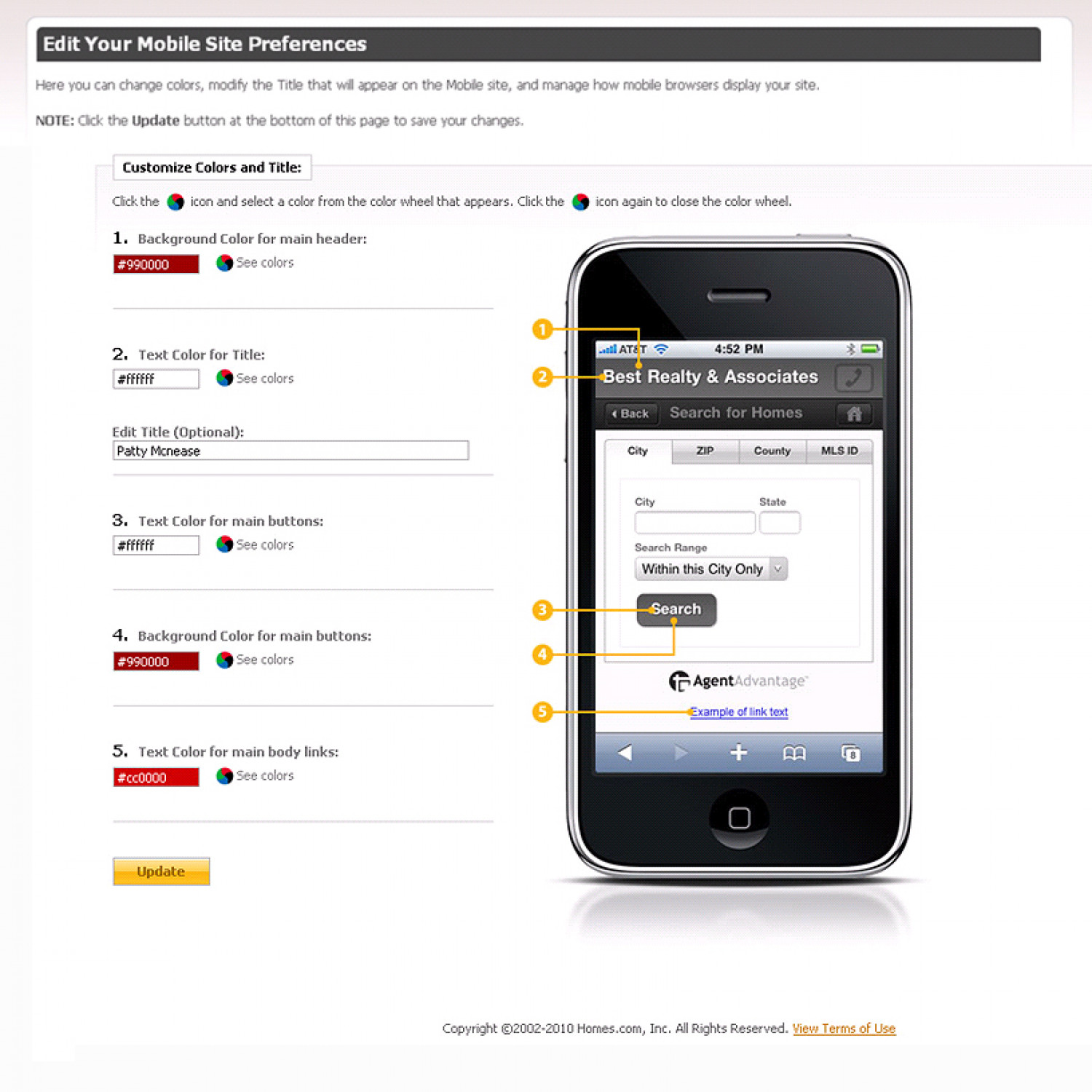 Infographic for adjusting settings for AgentAdvantage mobile site Infographic