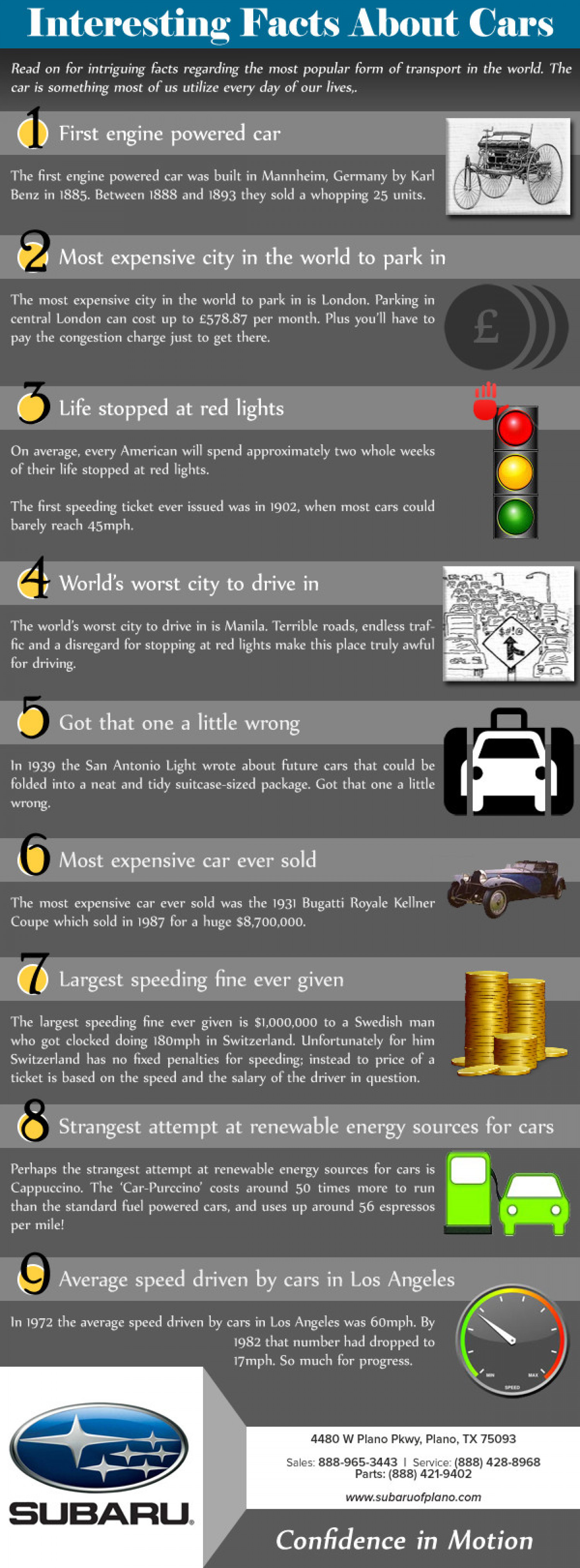 Interesting Facts about Cars						 Infographic