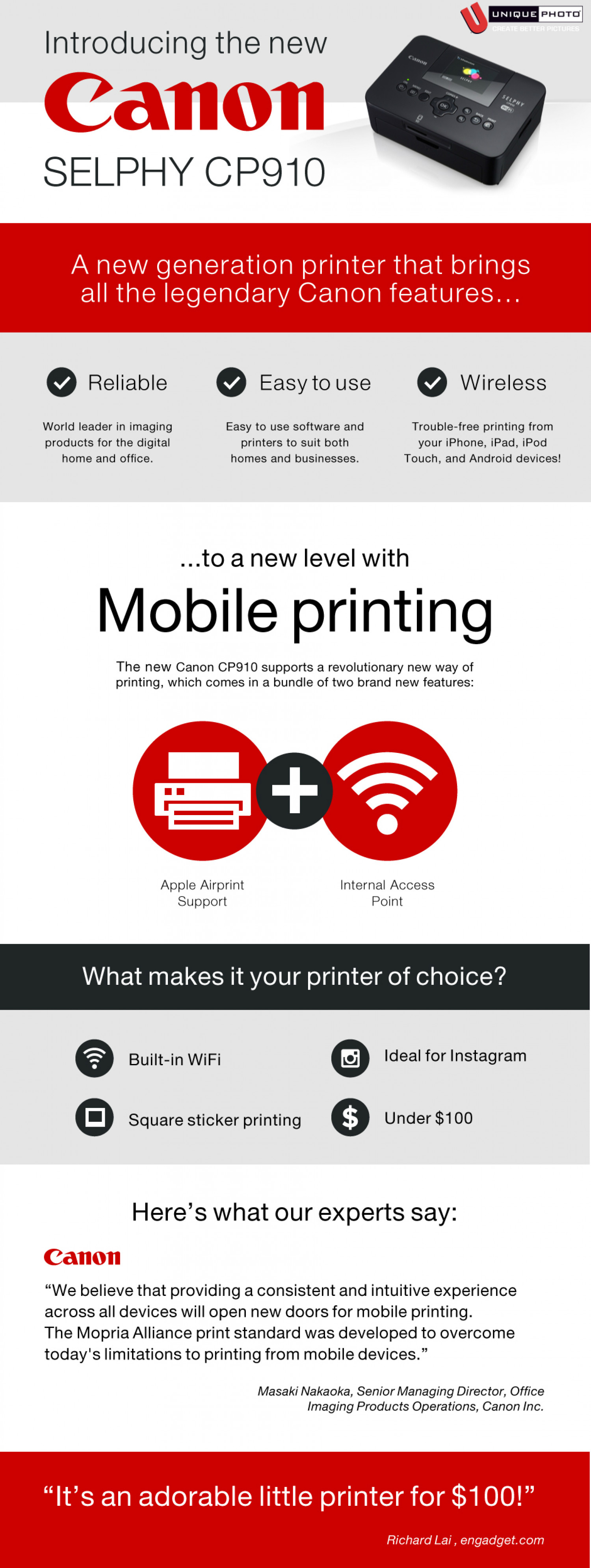 Canon Selphy CP910 Infographic