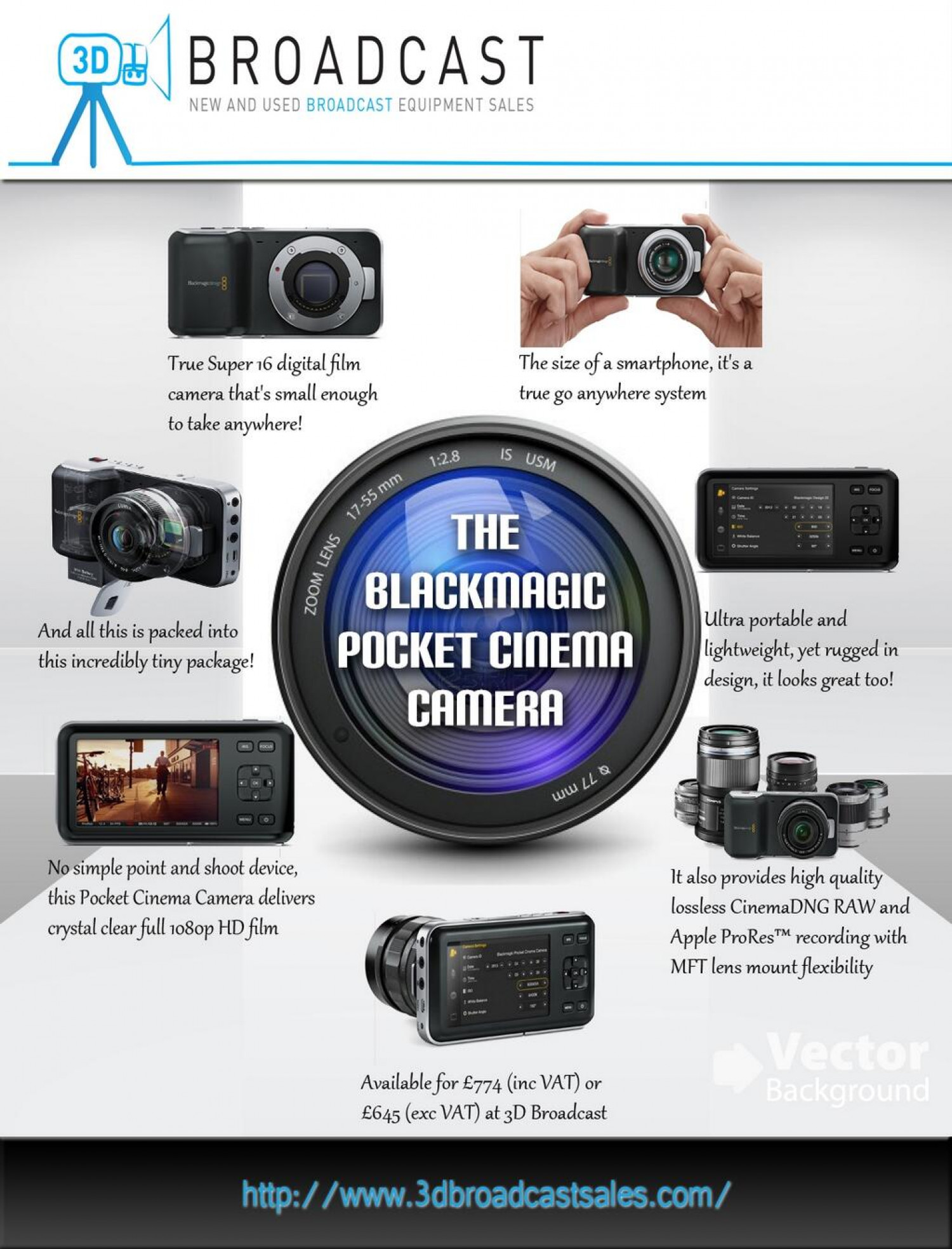 Introducing The Blackmagic Pocket Cinema Camera Infographic