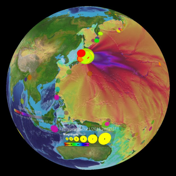 Japan Earthquake and Tsunami Wave Heights, March 11, 2011 Infographic