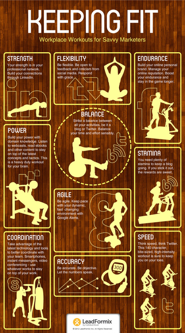 Keeping Fit - Workplace Workouts For Savvy Marketers Infographic