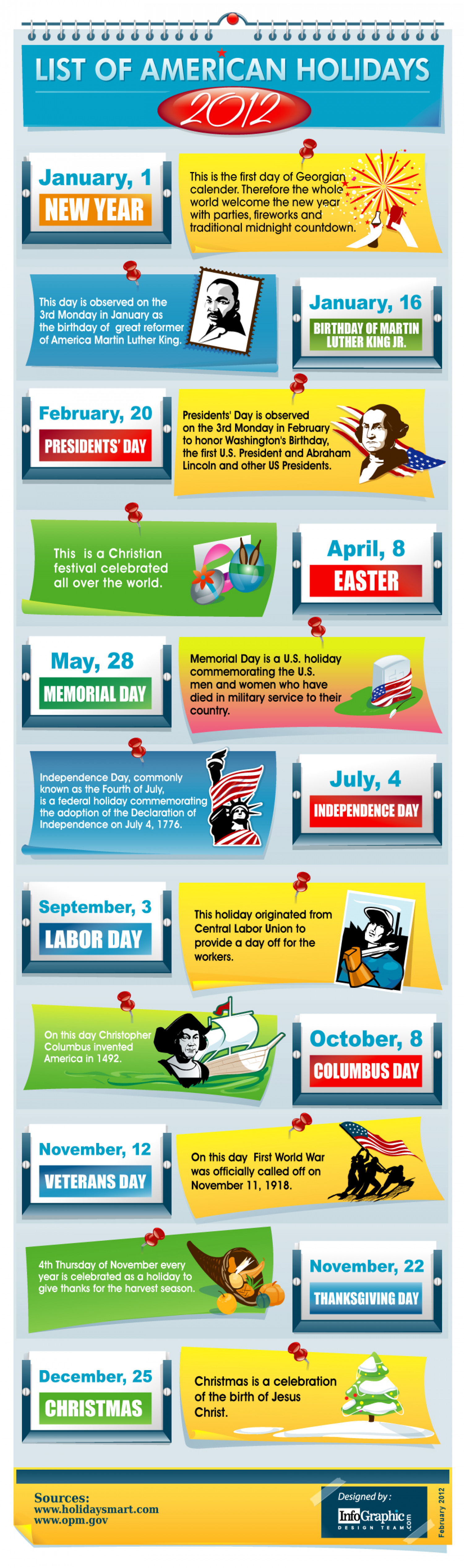 List Of American Holidays -2012 Infographic
