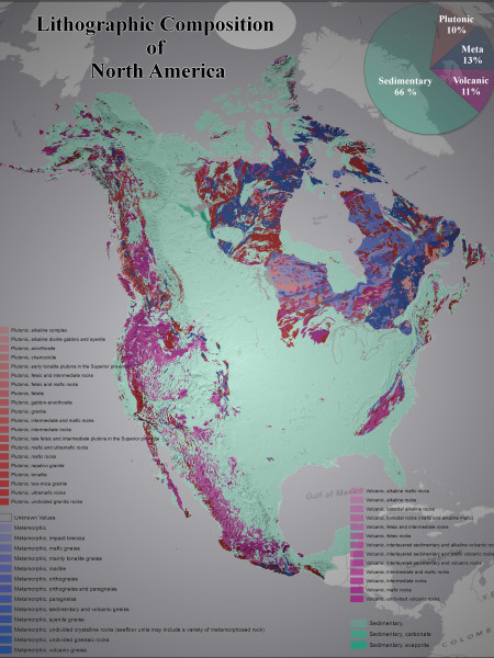 Lithographic Composition of North America Infographic