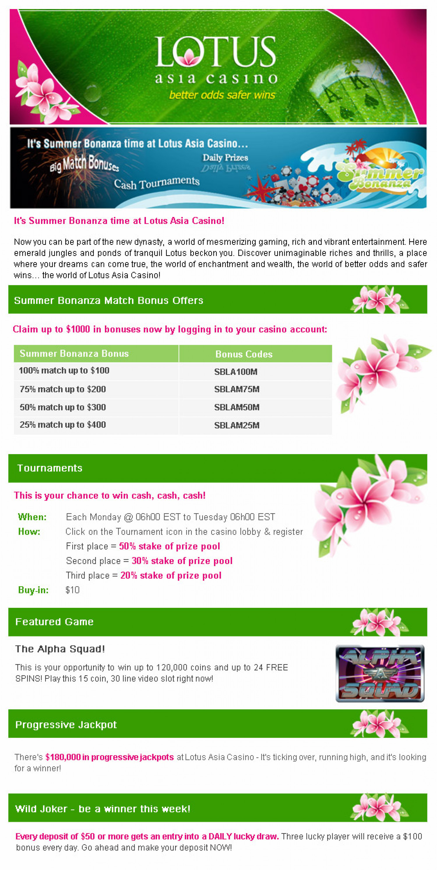 Lotus Asia Casino Summer Bonanza Infographic