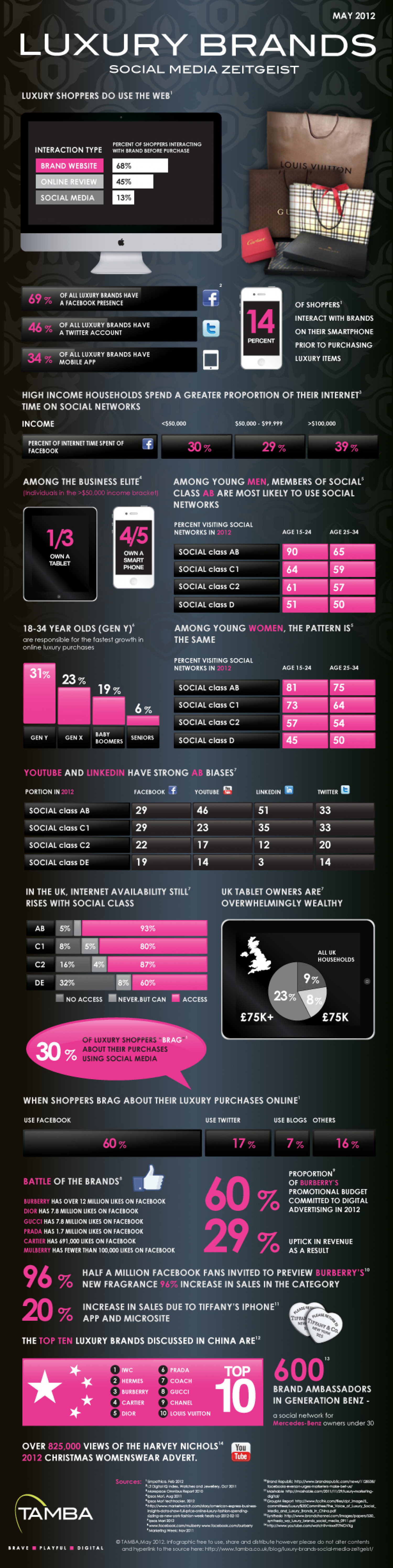 Luxury Brands Social Media Zeitgeist Infographic