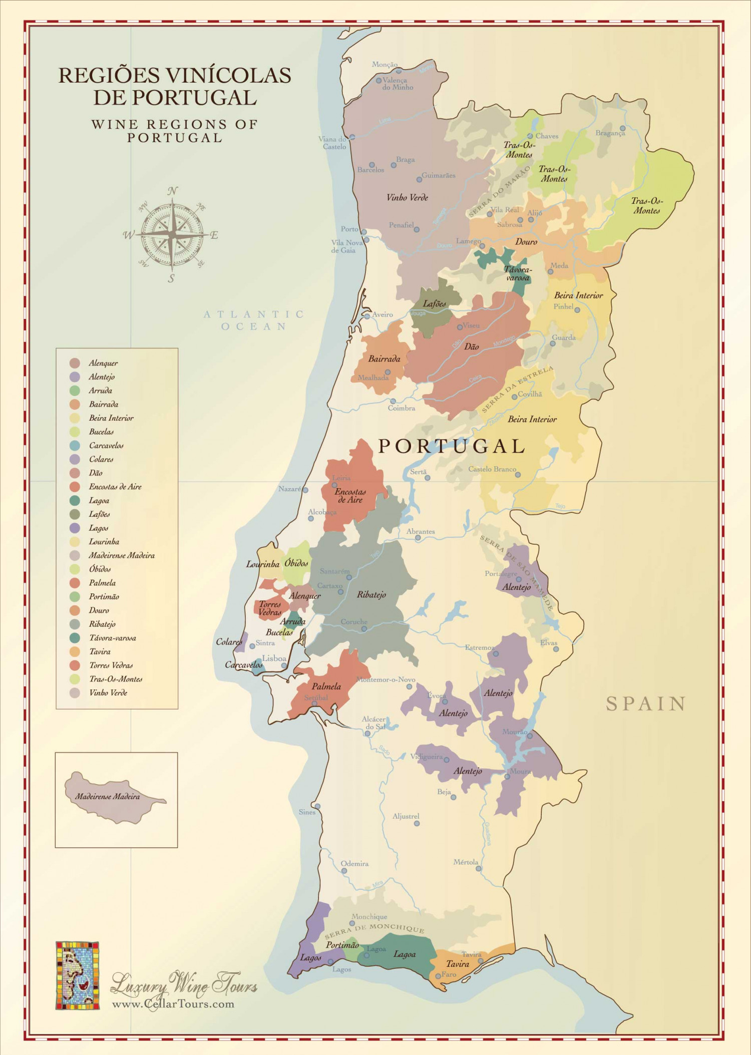 Map of Portuguese Wine Regions Infographic