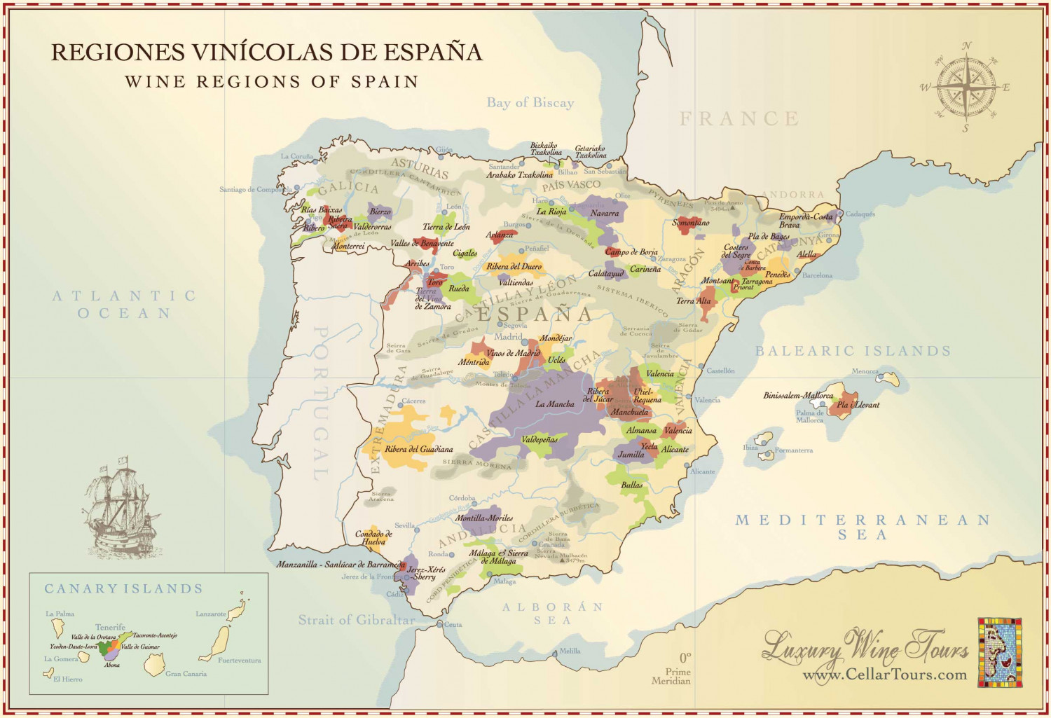 Map of Spanish Wine Regions Infographic