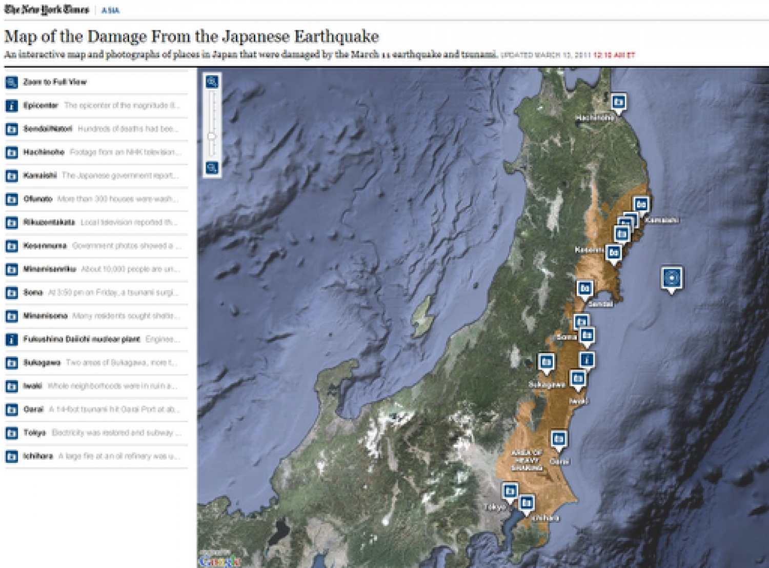 Map of the Damage From the Japanese Earthquake Infographic