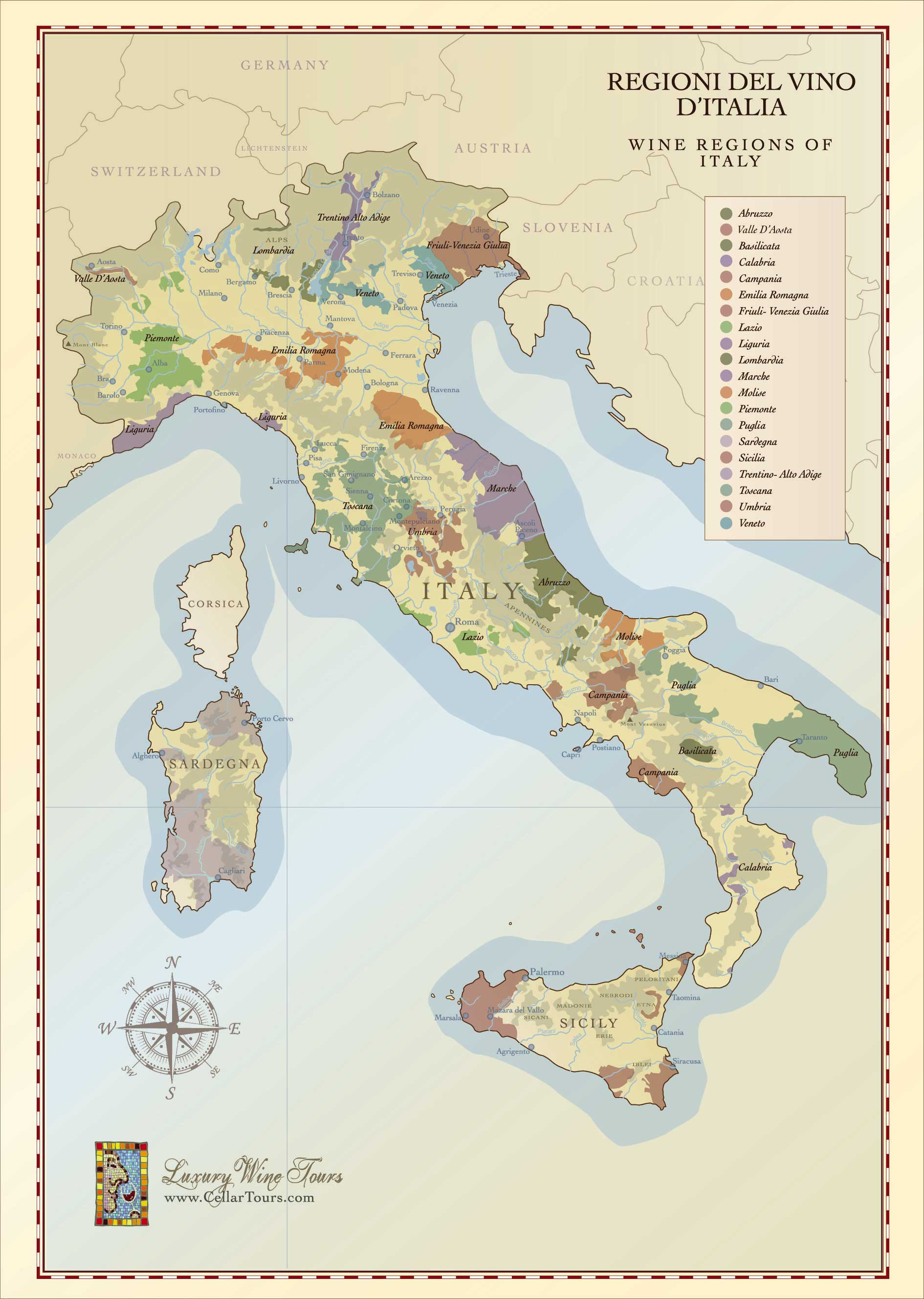 italy a map of italian wine regions - subscribe to the newsletter