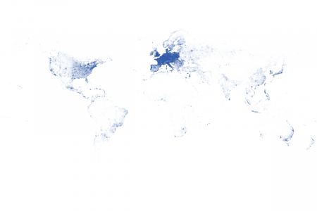 Map of the World drawn from IP locations Infographic