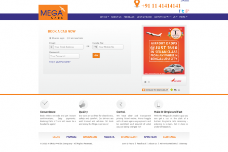 Mega Cabs India Infographic