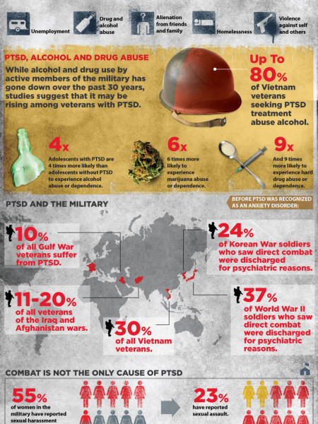 Military PTSD:  Post Traumatic Stress Disorder Infographic