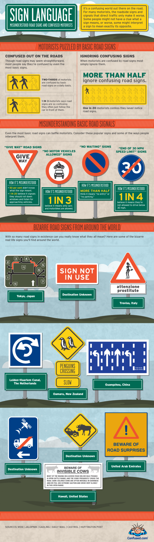 Misunderstood Road Signs and Confused Motorists