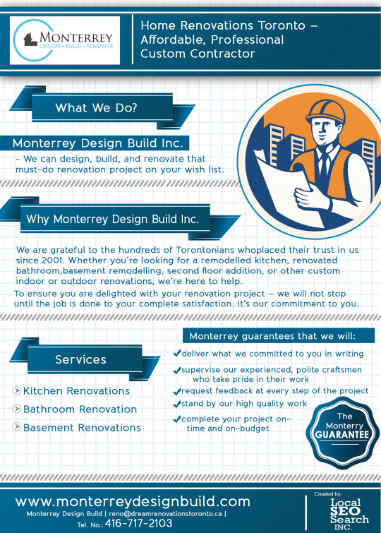 Monterrey Design Build Infographics: Professional Home Renovations Contractor in Toronto