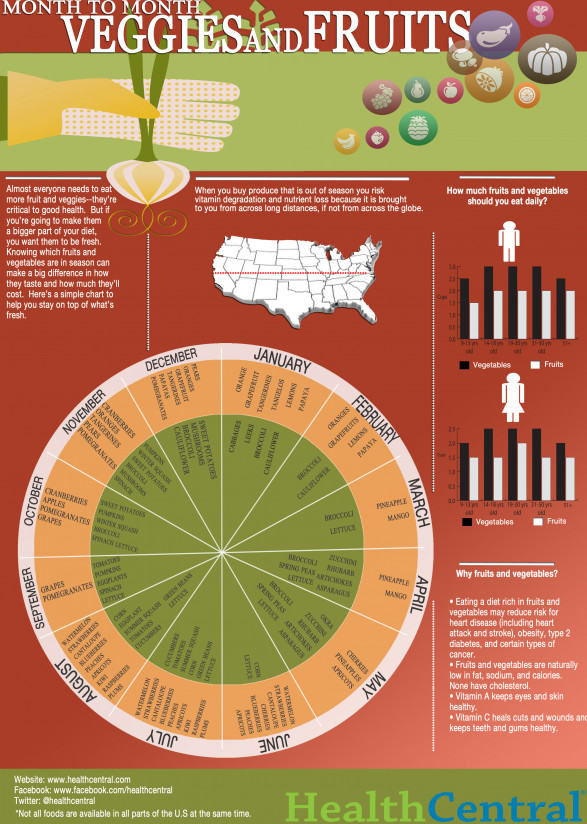 Month to Month Veggies and Fruit Infographic: Your Guide to Seasonal Cooking