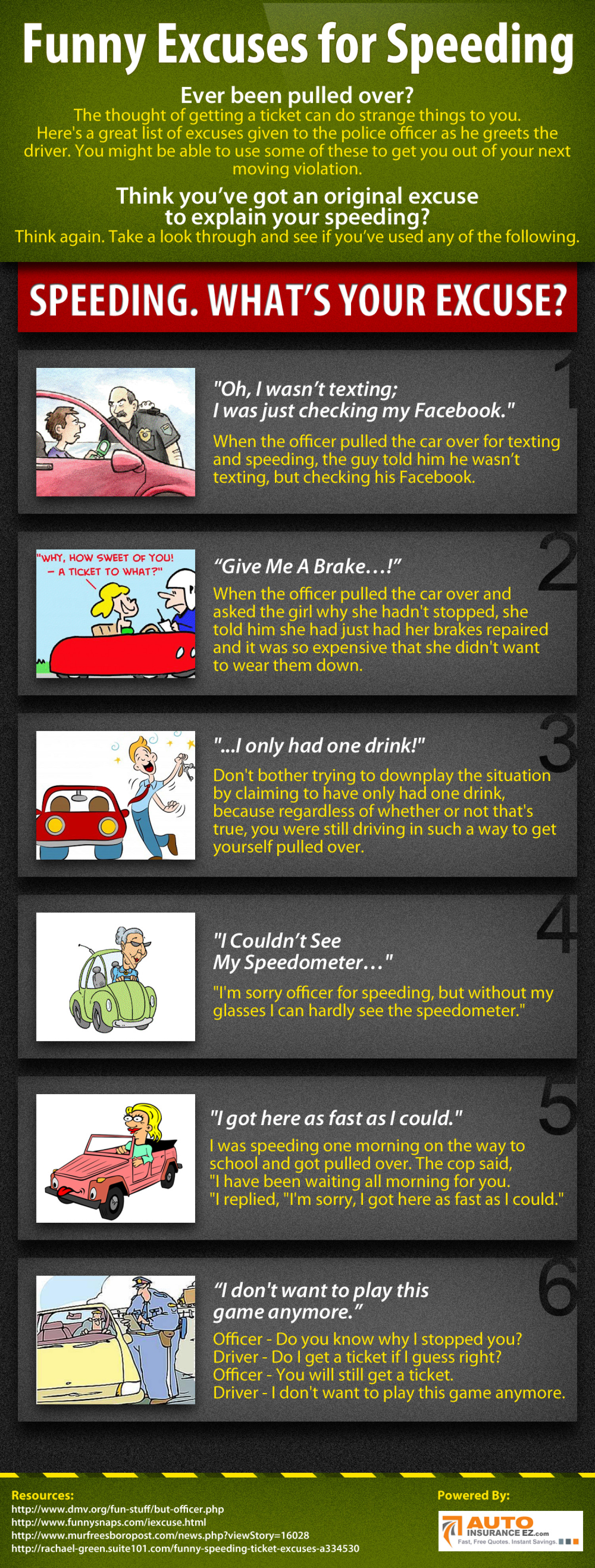 Most Popular Ticket Excuses Given to Cops  Infographic