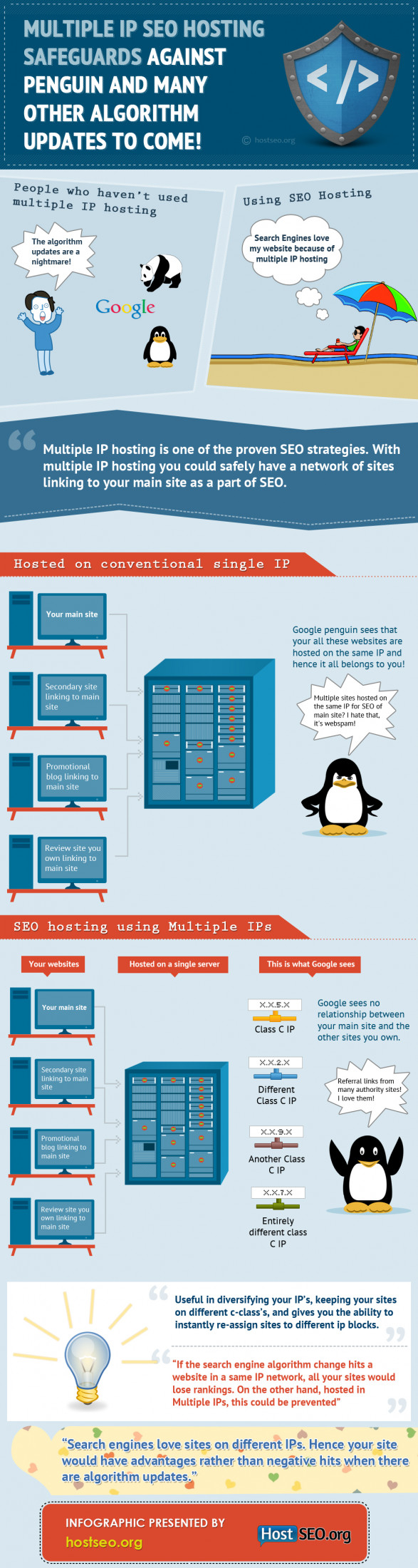Multiple IP SEO Hosting safeguards against penguin and many other algorithm updates to come!
