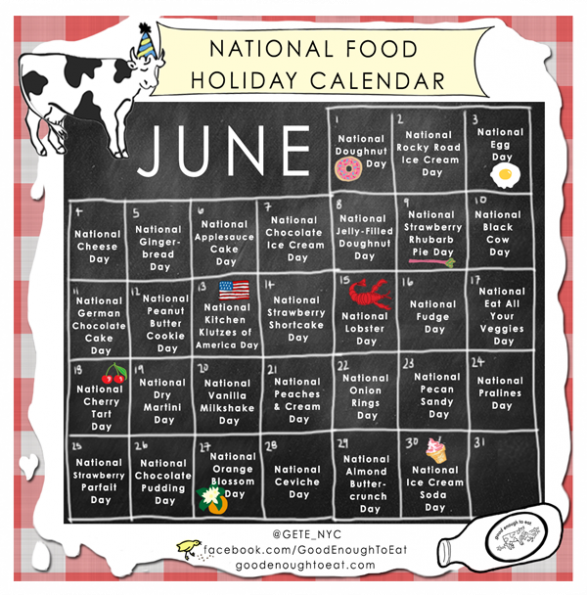 NATIONAL FOOD HOLIDAY CALENDAR - JUNE 2013