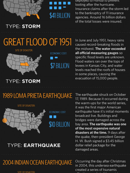 Natural Disasters with The Worst Economic Impact Infographic