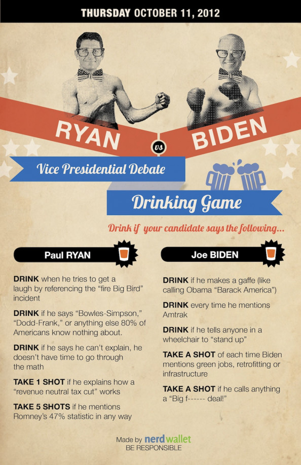 NerdWallets Vice Presidential Debate Drinking Game Infographic