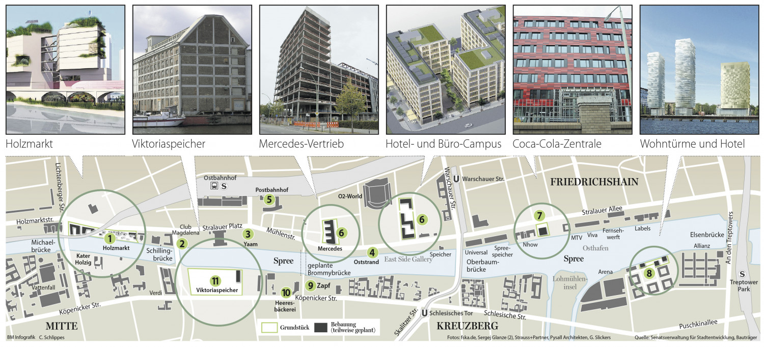 New Buildings on Spree waterside in Berlin Infographic