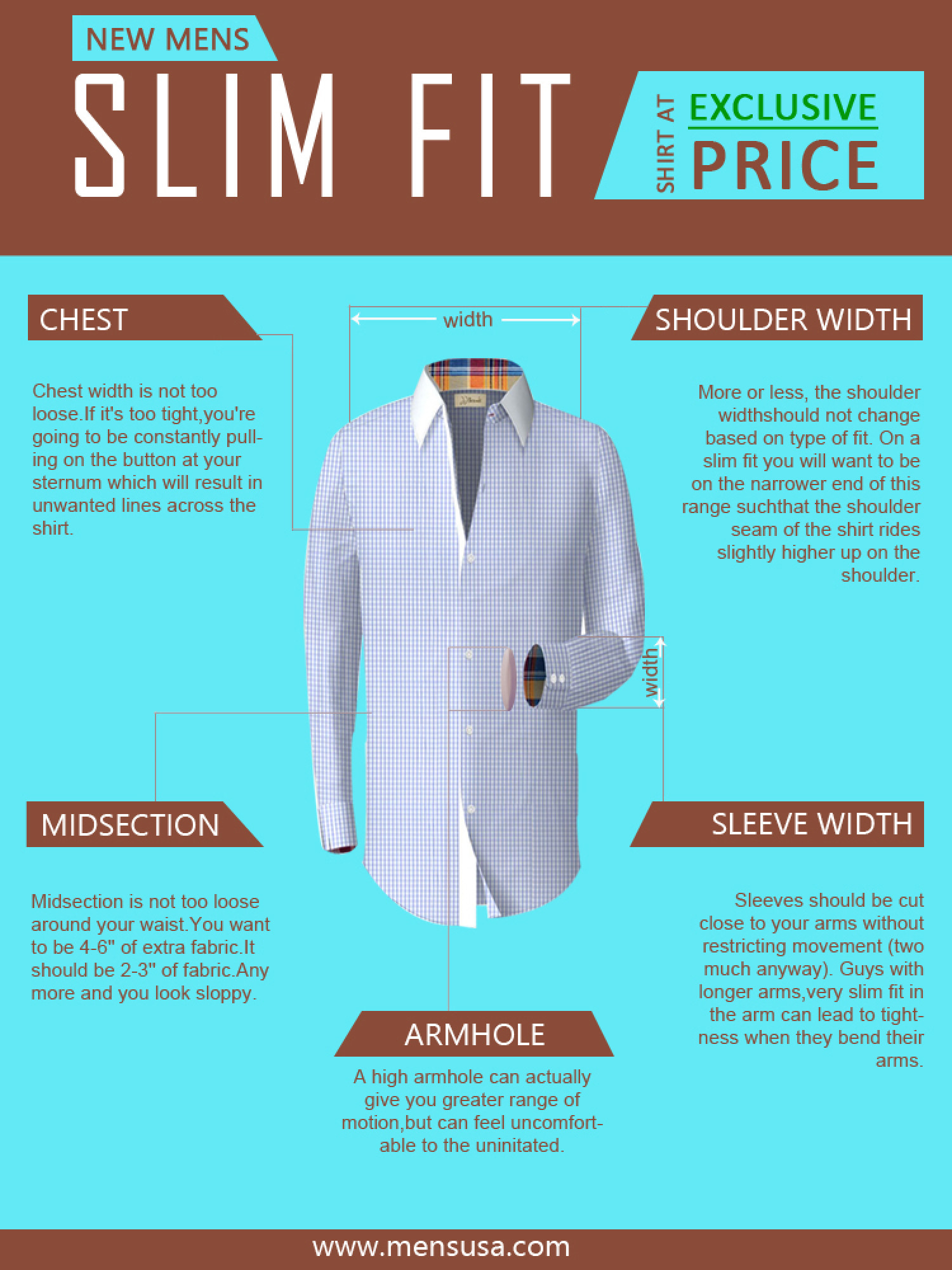 New Mens slim fit shirt at exclusive price Infographic