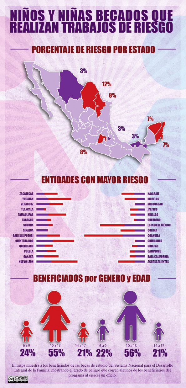 NINOS Y NINAS QUE REALIZAN TRABAJOS DE RIESGOS EN MEXICO (DIF) Infographic