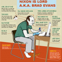 Nixon is Lord A.K.A Brad Evans  Infographic